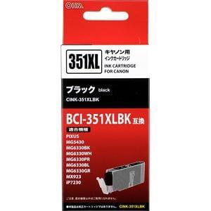 オーム電機 CINK-351XLBK キヤノンBCI-351XLBK対応 互換インク ブラック