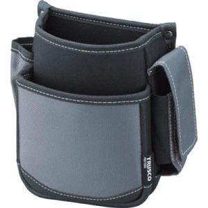 TRUSCO 腰袋 2段 携帯電話ホルダー付き グレー