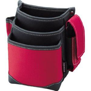 TRUSCO 腰袋 3段 携帯電話ホルダー付き レッド
