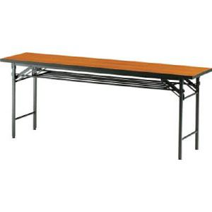 TRUSCO 折りたたみ会議テーブル 1800X450XH700 チーク