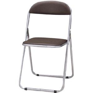 TRUSCO 折りたたみパイプ椅子 ウレタンレザーシート貼り ブラウン