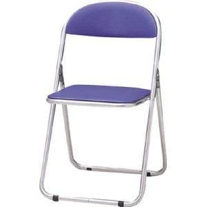 TRUSCO 折りたたみパイプ椅子 ウレタンレザーシート貼り ブルー