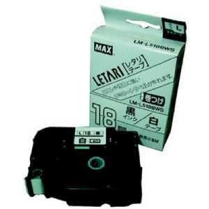 MAX ラベルプリンタ ビーポップミニ 18mm幅巻きつけテープ 白地黒字