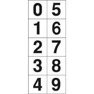 TRUSCO 数字ステッカー 50×50 「0~9」連番 白 1枚入