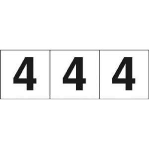 TRUSCO 数字ステッカー 50×50 「4」 白 3枚入