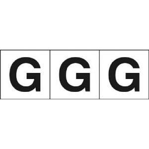 TRUSCO アルファベットステッカー 30×30 「G」 白 3枚入