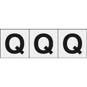 TRUSCO アルファベットステッカー 30×30 「Q」 透明 3枚入