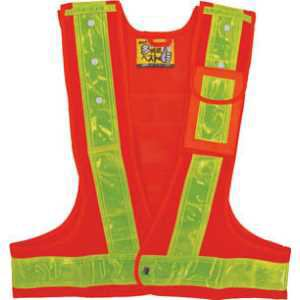 緑十字 多機能ベスト(橙/黄) サイズ:フリー ナイロンメッシュ