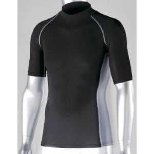 おたふく 冷感 消臭 パワーストレッチ半袖ハイネックシャツ ブラック L