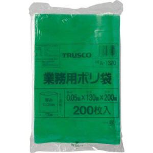 TRUSCO 小型ポリ袋 縦200X横130Xt0.05 200枚入 緑