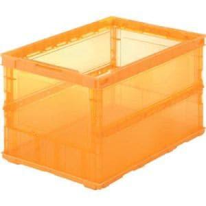 TRUSCO 薄型折りたたみコンテナスケル 50L オレンジ