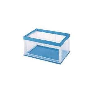 積水 窓あき折りたたみコンテナ75L 透明青