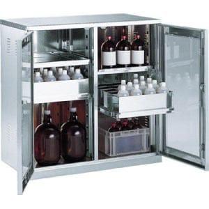 TRUSCO 耐震薬品庫 ガラス両開型 棚スライド式 900X500XH900