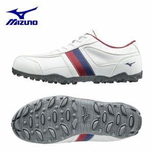ミズノ MIZUNO ゴルフシューズ ティーゾイド 51GQ1685 (24.5cm/ホワイト×ワインレッド)