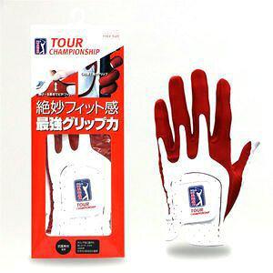 ダイヤ US PGA グローブ 3007 左手用(ホワイト/ レッド・フリーサイズ:22~25cm) DAIYA GL-3007 RD