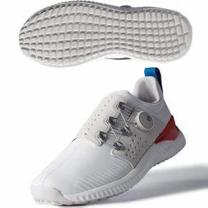 アディダス アディクロス バウンス ボア WG985 メンズ ゴルフ ダイヤル式スパイクレスシューズ ホワイト×グレー 25.5cm