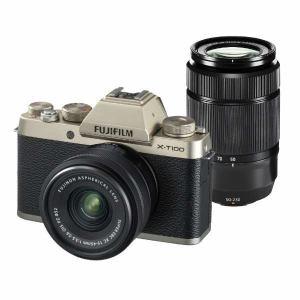 富士フイルム XT100-WZLKITG ミラーレス一眼カメラ 「X-T100」ダブルズームレンズキット(シャンパンゴールド)
