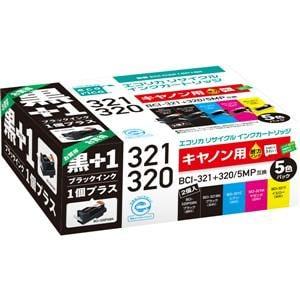 エコリカ BCI-321+320/5MP+黒 互換リサイクルインクカートリッジ ECI-C3215P+BK