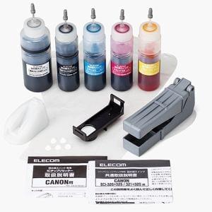 エレコム THC-326321RSET キヤノン325+326/320+321用詰め替えインクセット 5色セット 各約5回+リセッター