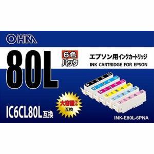 オーム電機 INK-E80L-6PNA エプソン用汎用インク (6色セット)