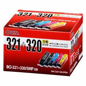 オーム電機 INK-C321+320-5PNA キヤノンBC-321+320/5MP互換 インクカートリッジ 顔料ブラック+染料4色パック