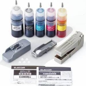 エレコム THC-351350RSET キヤノン351+350用詰め替えインクセット 5色セットモデル