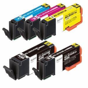 プレジール PLE-C351XL5P キヤノン BCI-351XL+350XL/5MP互換インクカートリッジ 5色パック 大容量タイプ