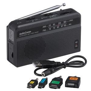 オーム電機 スマートフォン対応 手回しラジオライト RAD-V945N
