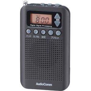 オーム電機 RAD-P350N-K ワイドFM対応 DSPスリムラジオ ブラック