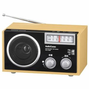 オーム電機 RAD-T555Z AudioComm ポータブル木製ラジオ