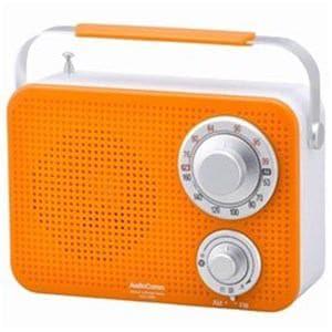 オーム電機 RADT380ND ワイドFM対応 キッキン・シャワーラジオ(オレンジ)