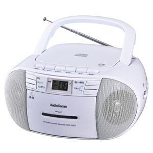 オーム RCD-550Z-W ワイドFM対応CDラジオカセットレコーダー(ホワイト) AudioComm OHM