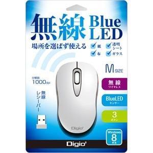 ナカバヤシ 2.4GHzワイヤレス BlueLEDマウス(ホワイト) MUS-RKT95W