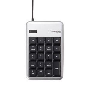 エレコム 2ポートUSB2.0ハブ付USBテンキーボード(シルバー) TK-TCM012SV