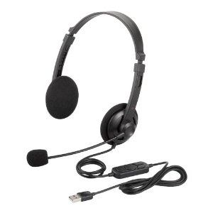 i-BUFFALO 両耳ヘッドバンド式ヘッドセット USB接続 ブラック BSHSUH12BK