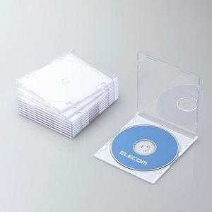 エレコム Blu-ray/DVD/CDケース(スリム/PS/1枚収納) ホワイト CCD-JSCS10WH