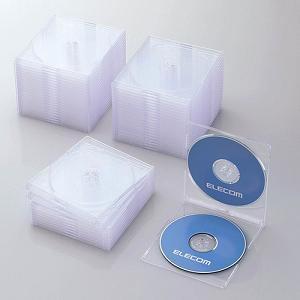 エレコム Blu-ray/DVD/CDケース(スリム/PS/2枚収納/50パック) クリア CCD-JSCSW50CR