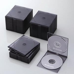 エレコム Blu-ray/DVD/CDケース(スリム/PS/2枚収納/50パック) クリアブラック CCD-JSCSW50CBK