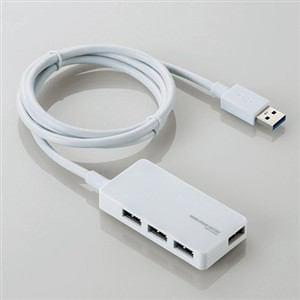 エレコム USB3.0対応ACアダプタ付き4ポートUSBハブ ホワイト U3H-A408SWH