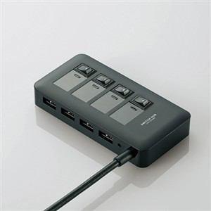 エレコム USB3.0対応個別スイッチ付き4ポートUSBハブ ブラック U3H-S409SBK