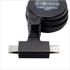 ミヨシ MCO SCB-TW01/BK microUSBツインコネクタ搭載 巻取り式ケーブル (ブラック)