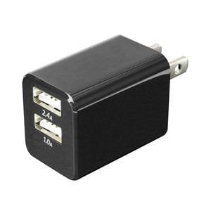 ミヨシ MCO IPA-24U/BK USB-ACアダプタ2ポート 2.4A対応 スイングプラグ採用 ブラック