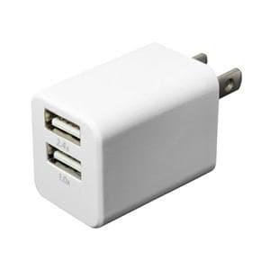 ミヨシ USB-ACアダプタ 2.4A USB2ポート ホワイト IPA-24U/WH