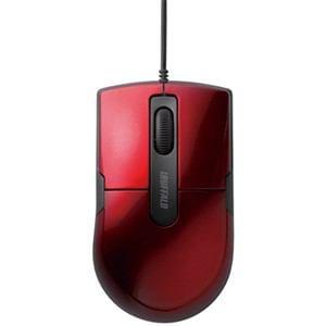 バッファロー 静音 有線BlueLEDマウス 3ボタン Mサイズ レッド BSMBU26SMRD