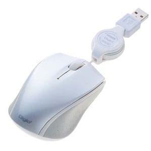 ナカバヤシ 巻取り有線3ボタンBLUE LEDマウス ホワイト MUS-UKT103W