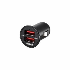 バッファロー BSMPS2401P2TBK 2.4A出力 シガーソケット用USB急速充電器 2ポートタイプ(ブラック)