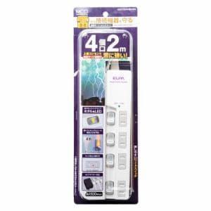 ミヨシ OAT-CS4P20/WH 耐雷サージスイッチタップ4個口   ホワイト
