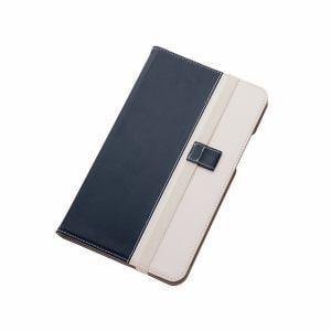 レイ・アウト Qua tab 01 バイカラーブックレザーケース(合皮)/ネイビー/ホワイト