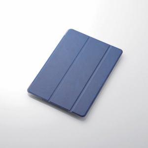 エレコム TB-A18RWVBU iPad 2018年モデル用 9.7インチ ソフトレザーフラップカバー 背面クリア 2アングル ブルー