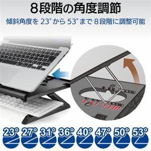 エレコム パソコン スタンド ノートスタンド 折りたたみ 8段階 9.5cm PCA-LTSH8BK ノートデスク ブラック スタンド テレワーク 疲労軽減